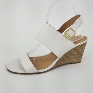 New Halogen Aster White Leather Wedge Sandals